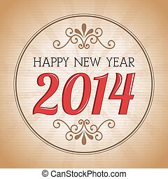 happy new year 2014 over vintage background vector...
