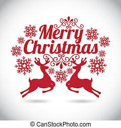 merry christmas over gray background vector illustration