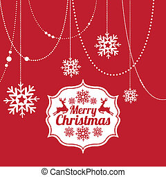 merry christmas  over red background  vector illustration