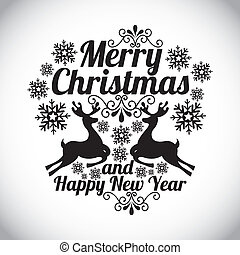 merry christmas and happy new year over gray background...