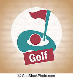 golf design over vintage   background vector illustration