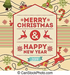 merry christmas and happy new year over pink background...