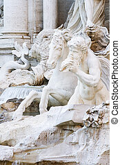 Trevi Fountain - Close up of statues of the Trevi Fountain...