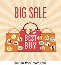 big sale design over grunge background vector illustration