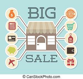 big sale design over blue background vector illustration