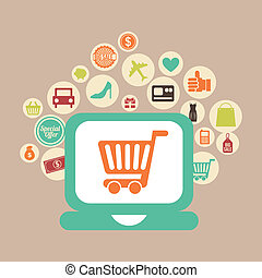 e-commerce design over pink background vector illustration
