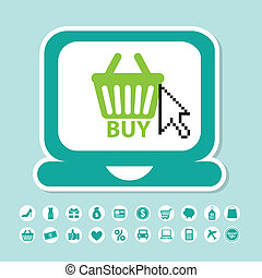 e-commerce design over blue background vector illustration