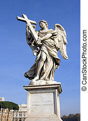 Castel Angelo Angel - Statue of angel holding cross outside...