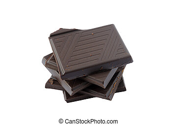 Pieces of Dark chocolate on a white background
