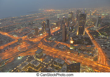 dubai skyline - dubai city skyline main road and new...