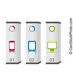 Set boxes with simple gadgets infographic icons
