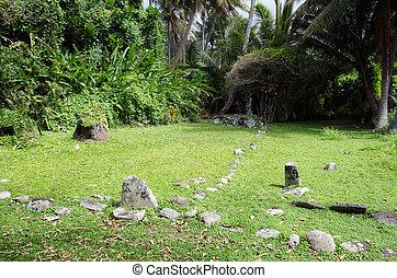 Arai Te Tonga Marae in Rarotonga Cook Islands - RAROTONGA -...
