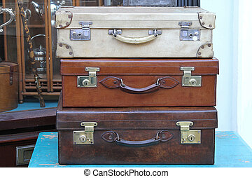 Suitcases - Stack of vitage travel style leather suitcases
