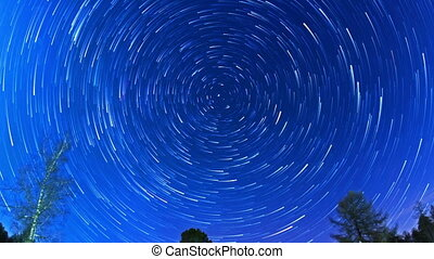 Stars leave traces. Fisheye. Time Lapse