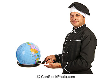 Chef male with world globe into pan