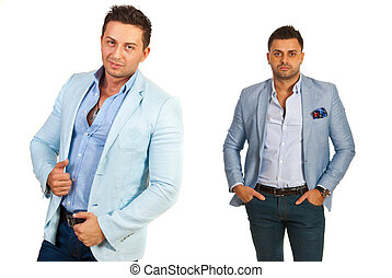 Attractive men in casual suits isolated on white background