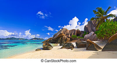 Beach Source d'Argent at Seychelles - Panorama of beach...