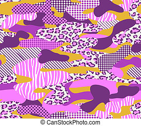 Pink camouflage - seamless vector background