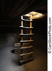 Kiva Ladder at Spruce Tree House in Mesa Verde National Park...