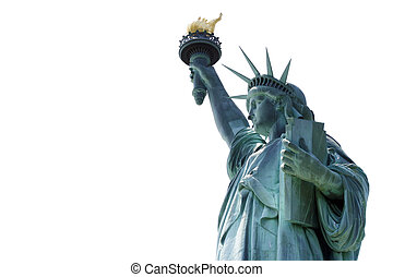 Statue of Liberty over white background with empty space on...