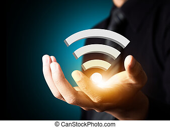 Wifi technology social network - Wifi technology symbol in...