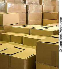 warehouse with shipping cartons and packaging