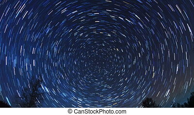 Star tracks. Fisheye. Time Lapse. 4K - Star tracks. Fisheye....
