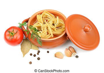 Spaghetti in a clay pot isolated on white background