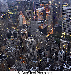 New York City - Overhead view of buildings in Midtown...