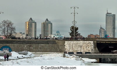 Dam with the Olympic clock, Yekaterinburg Time Lapse