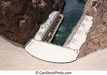Hoover Dam - View of down Hoover Dam at hydroelectric...