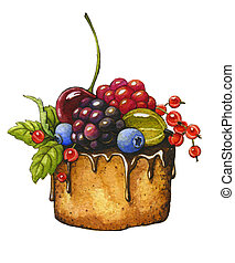 Berry cake on a white background Watercolor illustration