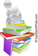 Thinking thinker on books - Concept illustration of a person...