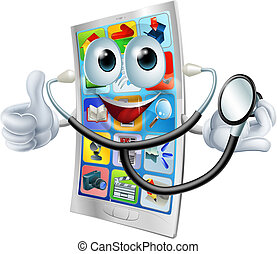 Cartoon phone holding a stethoscope - Cartoon phone mascot...
