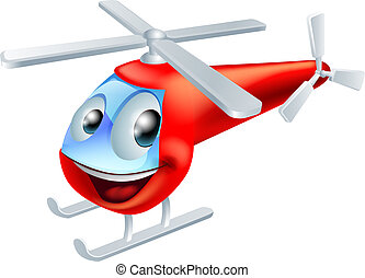 Helicopter cartoon character - Illustration of a cute red...