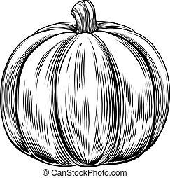 Vintage retro woodcut pumpkin - A vintage retro woodcut...