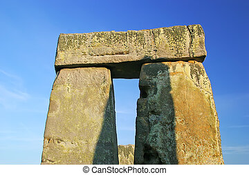Stonehenge - Closeup of rock formation of Stonehenge outside...