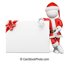 3D white people. Santa Claus with blank banner - 3d white...