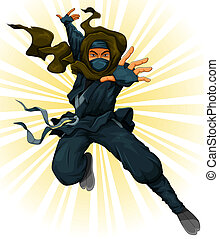 cartoon ninja jumping in the air