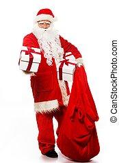 santa, Claus, navidad, saco, regalo, Cajas, aislado, blanco,...