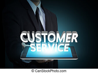 Customer service text on tablet - Customer service 3D text...