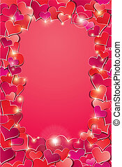 Valentine's day or Wedding background with Red hearts confetti. Vertical holidays frame.