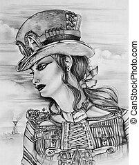 Steampunk Woman - Original pencil sketch drawn by myself of...