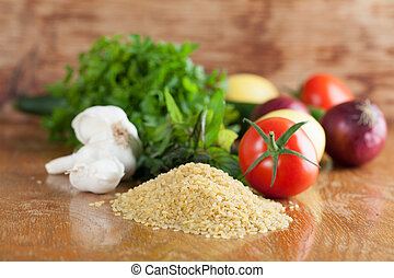 Tabbouleh ingredients - Fresh ingredients for tabbouleh on a...