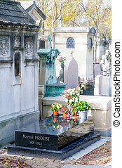 Marcel Proust Tomb in the Pere Lachaise cemetery in Paris,...