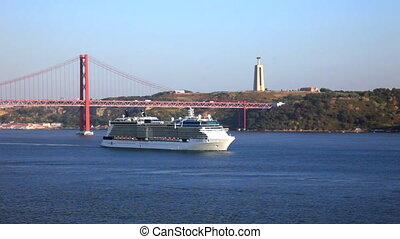 Summer view of Tejo river, Lisbo, Portugal - The 25 de Abril...