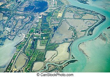 Veneto salt marshes, aerial view