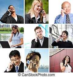 Business people talking on the phone - A collage of diverse...