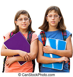 Two handicapped students with notebooks. - Portrait of two...