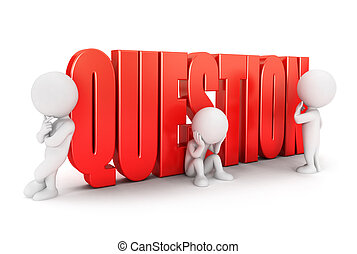3d white people important question, isolated white...